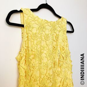 LAUREN RALPH LAUREN YELLOW LACE SHIFT DRESS